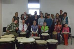 Unsere Trommelgruppe mit Familie Heinzmann.