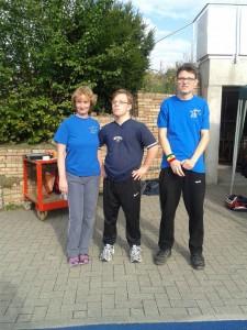 Jonas und Dominik mit Trainerin Judith.